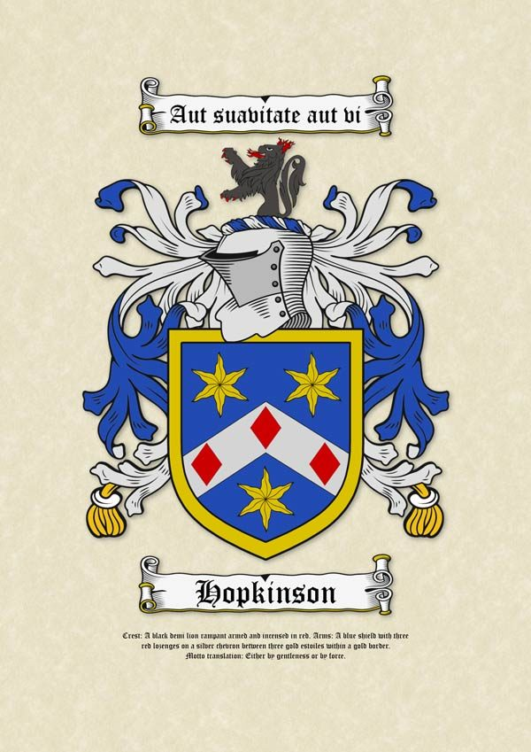Surname Coat of Arms (Family Crest) Printed on A3 Parchment Paper