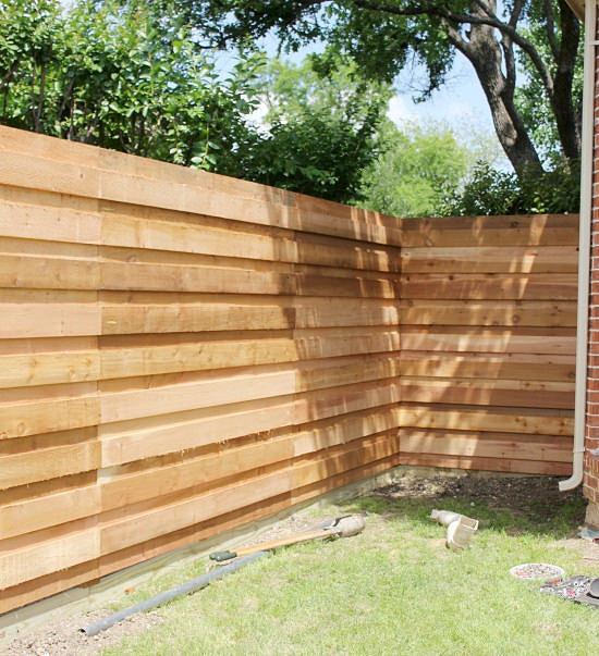 The Backyard} A New Horizontal Fence   Hi Sugarplum!