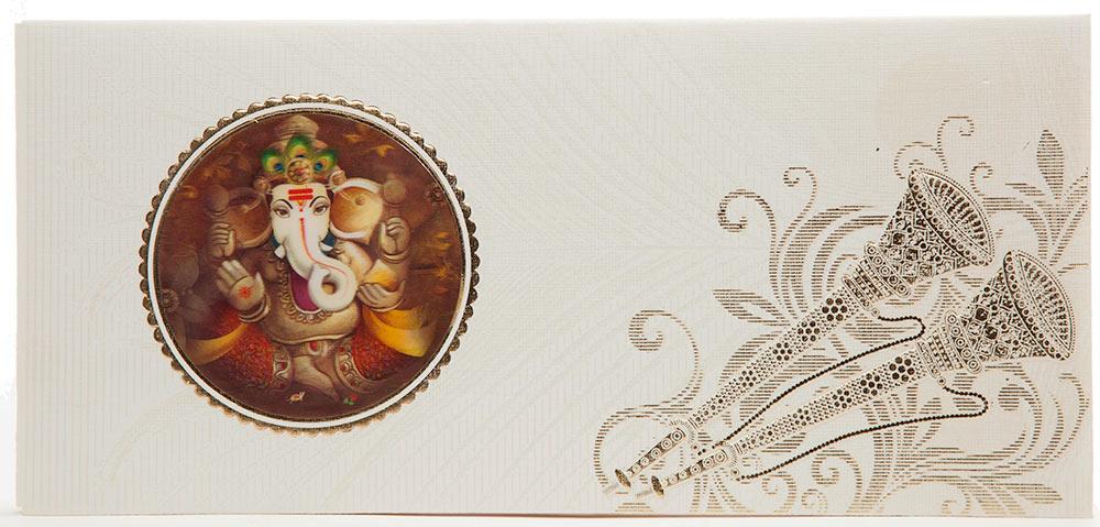 Indian Wedding Card With 3D Ganesha, Shehnai  Morpankh Design - wedding card designing