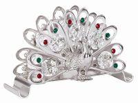 Silver Plated Peacock Design Napkin Holder