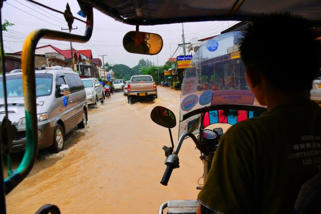 Our tuk-tuk ride through the flooded city - Savannakhet, Laos, Laotian malady