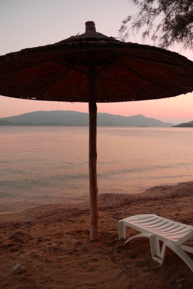 Beach parasol, taken at dusk - Glyfa, Greece (1)