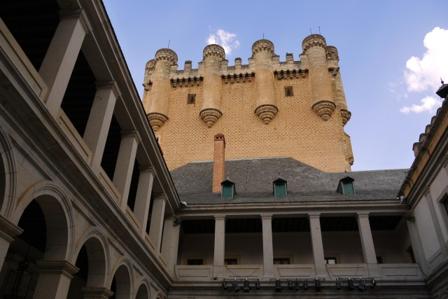 View of the Alcazar castle, taken from inner courtyard - Segovia, Spain (102)