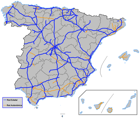 Map of Autopistas and Autovias in Spain