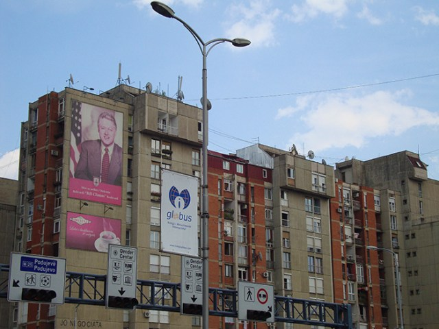 Bill Clinton poster on Bill Clinton Boulevard, Pristina, Kosovo