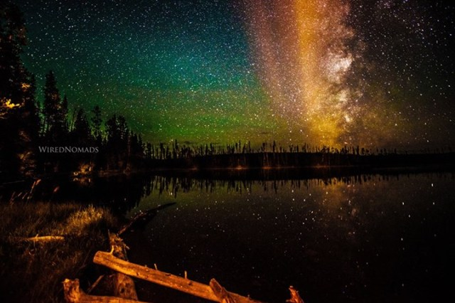 WiredNomads - Perseid Meteor Shower and the Aurora Borealis seen over the Ice Lake in the Yellowstone National Park, USA.