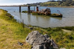 The final resting place of the Mary D. Hume, a famous vessel with a history of whaling and commercial fishing.