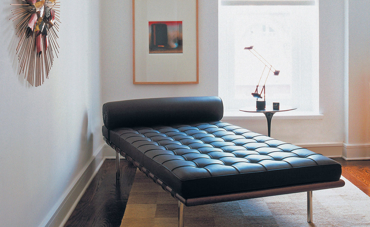 Barcelona Chair Mies Van Der Rohe Barcelona Couch With Black Straps - Hivemodern.com