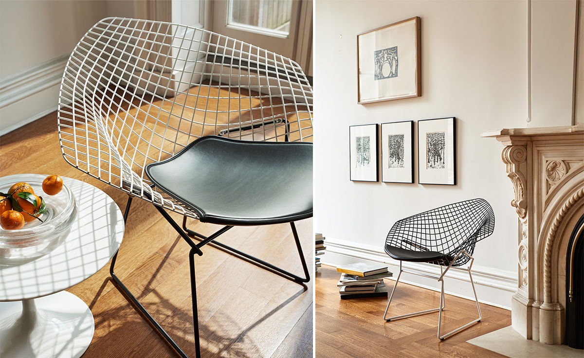 Designer Sofas Usa Bertoia Small Diamond Chair With Seat Cushion - Hivemodern.com