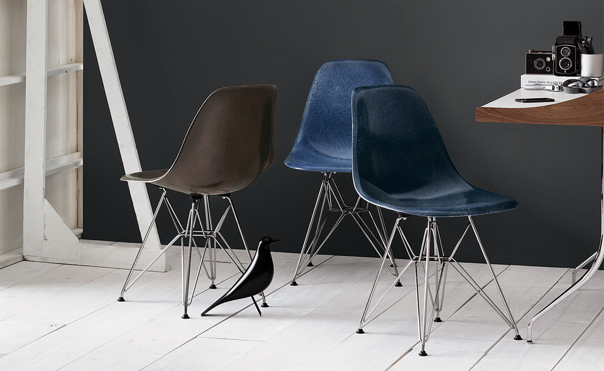 Charles Ray Eames Chair Eames® Molded Fiberglass Side Chair With Wire Base