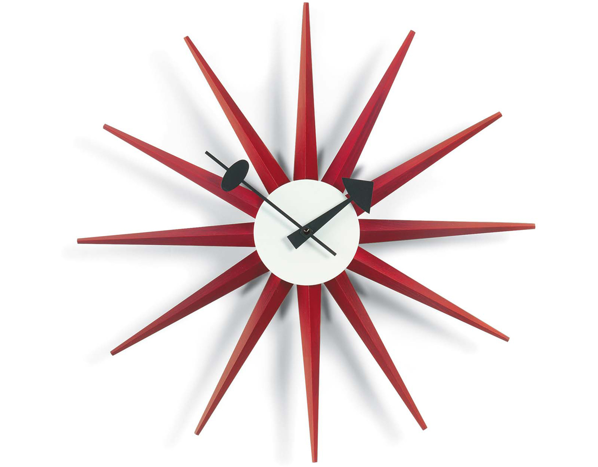 Vitra Clock George Nelson Sunburst Clock Red - Hivemodern.com