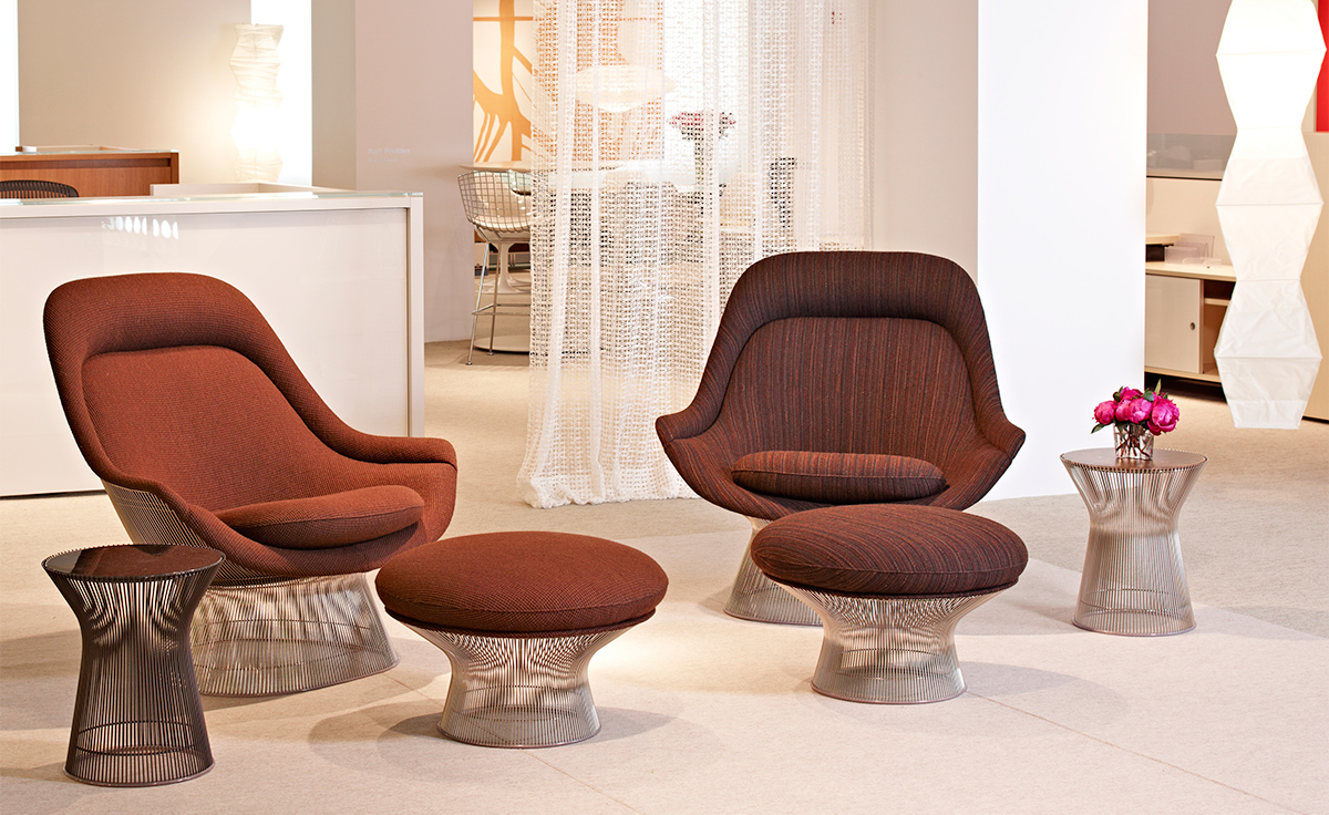 Hand Crafted Mirrors Platner Easy Chair And Ottoman - Hivemodern.com