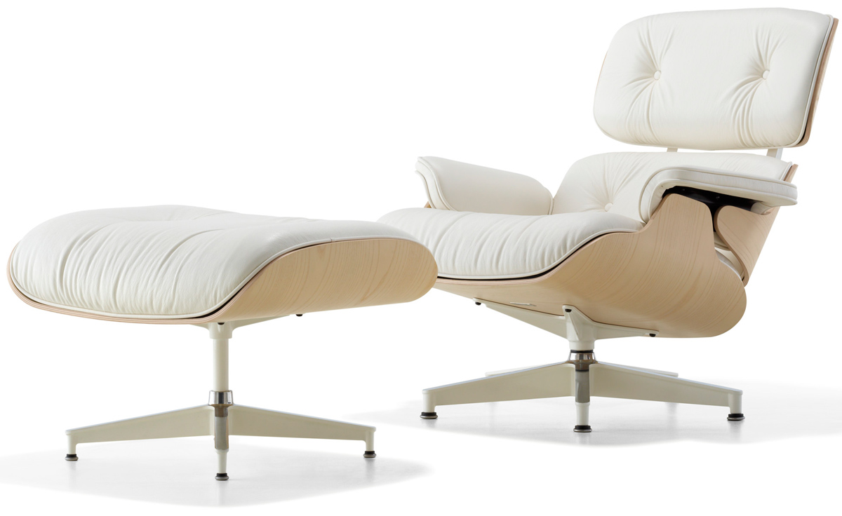 Eames Chair Beige White Ash Eames Lounge Chair Ottoman