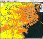 川崎市直下型地震の震度予測地図(朝日新聞より)