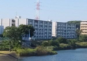 矢上川沿いの「北綱島ポンプ場」近くの日吉6丁目にある「さかえ住宅」