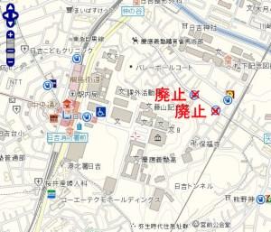 日吉3~4丁目周辺の電話ボックス位置図(NTT東日本の公衆電話設置場所検索の地図を加工)