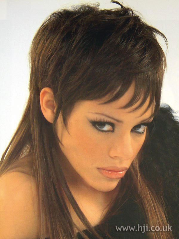 Haircuts For Short Hair Images 2002 Brunette Fringe Hairstyle Hji