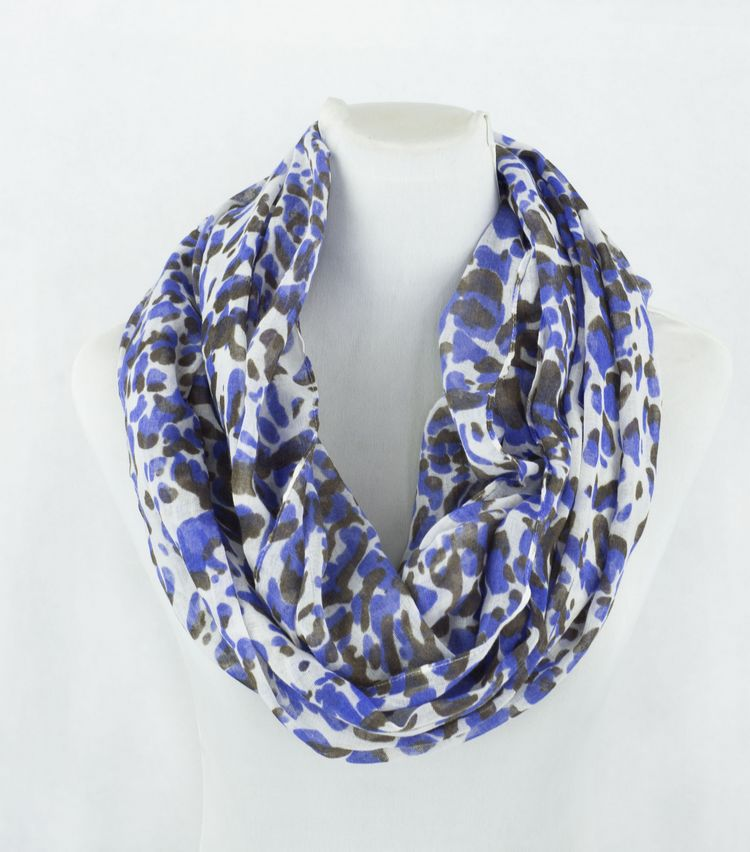Pashmina Scarf Hong Kong Blue Leopard Print Infinity Scarf