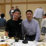 〔左起〕江藤師範和梁伯偉師父攝於歡迎晚宴上。