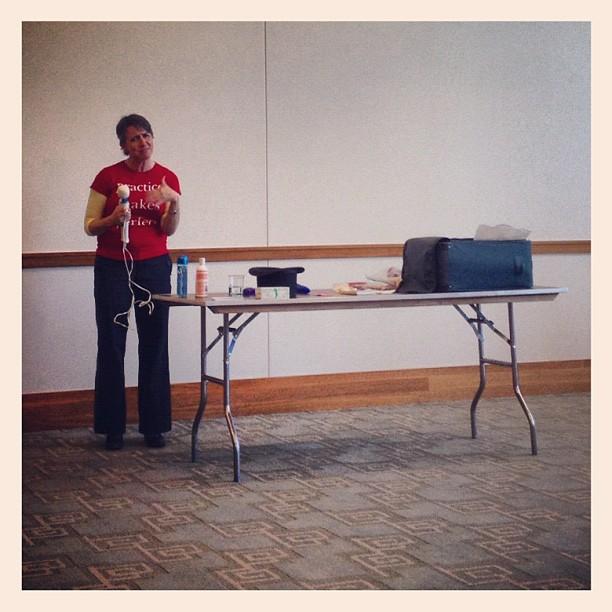 Speaker demonstrates a vibrator.