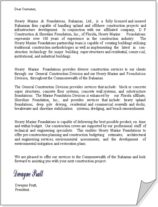 Heavy Marine  Foundations Ltd Letter of Introduction