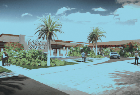 "Artists' rendering of the now-approved Hawaiian Gardens Casino. The new project consists of demolition of a ""tent membrane structure"" that houses the existing Casino and replace it with a modern two-story, 202,111 square foot building that will feature a variety of poker genre betting games."