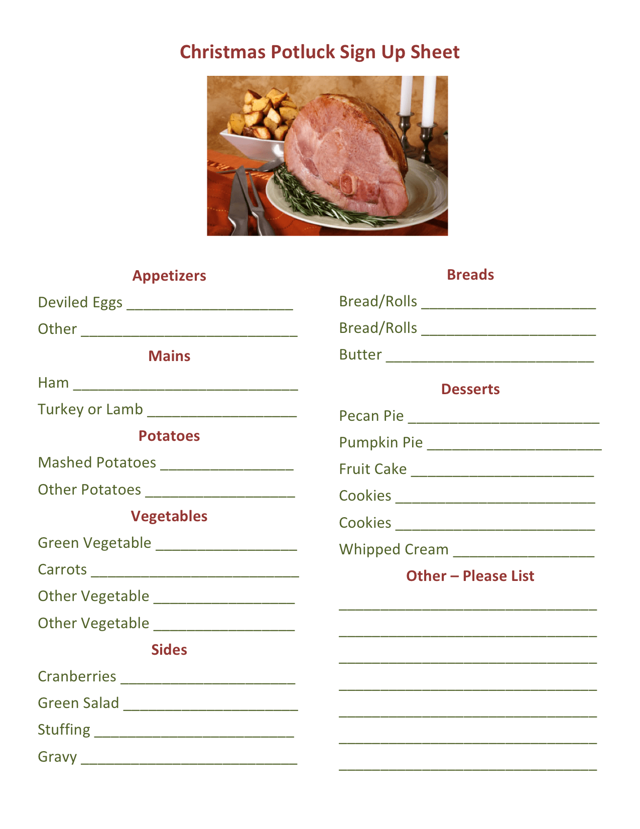 office potluck sign up sheet
