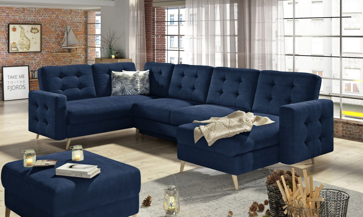 U Shaped Corner Sofa Bed With Storage Asgard