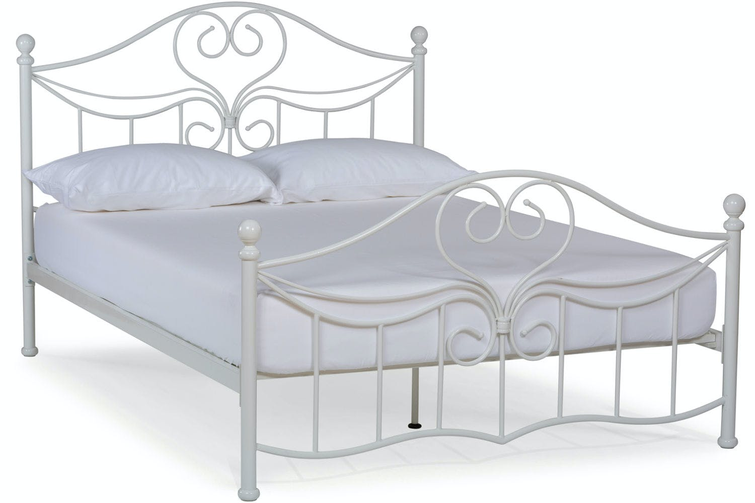 White Double Bed With Mattress Julliet Small Double Metal Bed Frame 4ft White