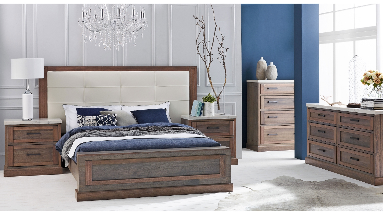 Domayne Wardrobes Hamptons Bed Frame With Leather Bedhead Domayne