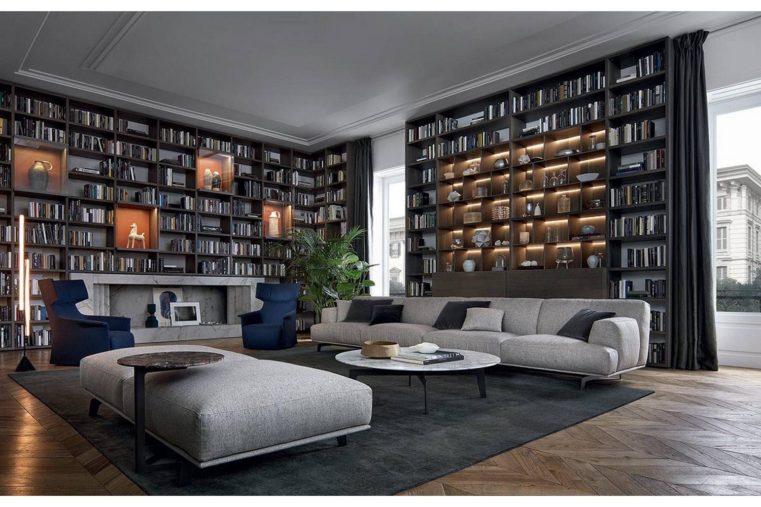 Wall System Bookcase By Crs Poliform For Poliform