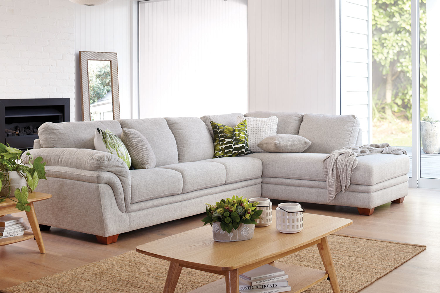Harvey Norman Grey Fabric Sofa Demi 3 Seater Fabric Lounge With Chaise By La-z-boy