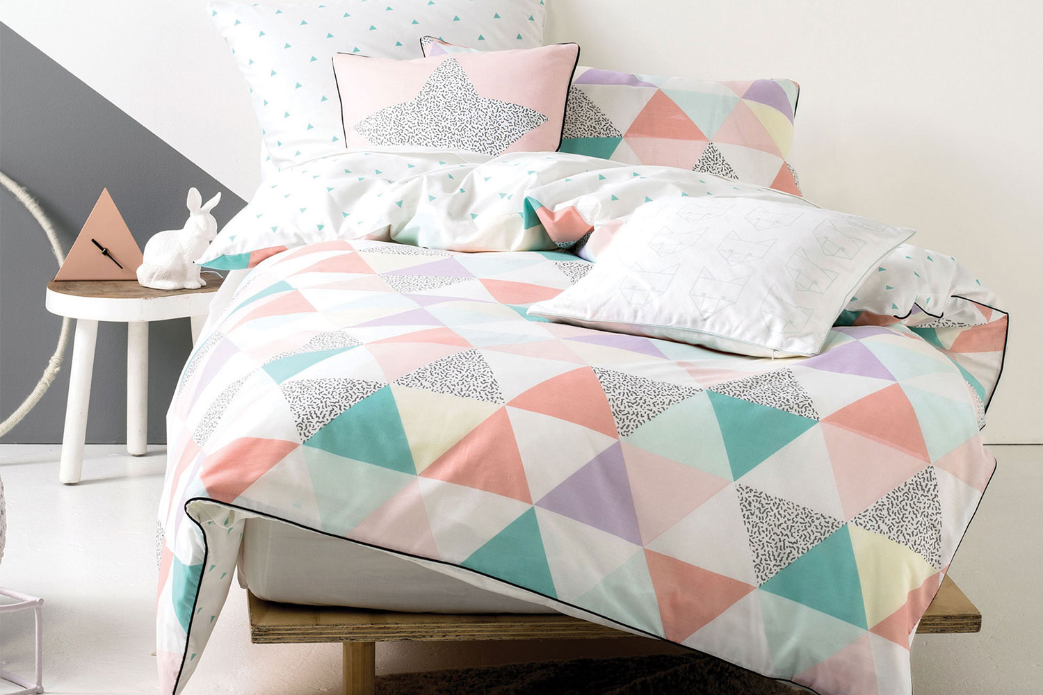 Pretty Bed Covers Astrid Pastel Quilted Duvet Cover Set By Squiggles