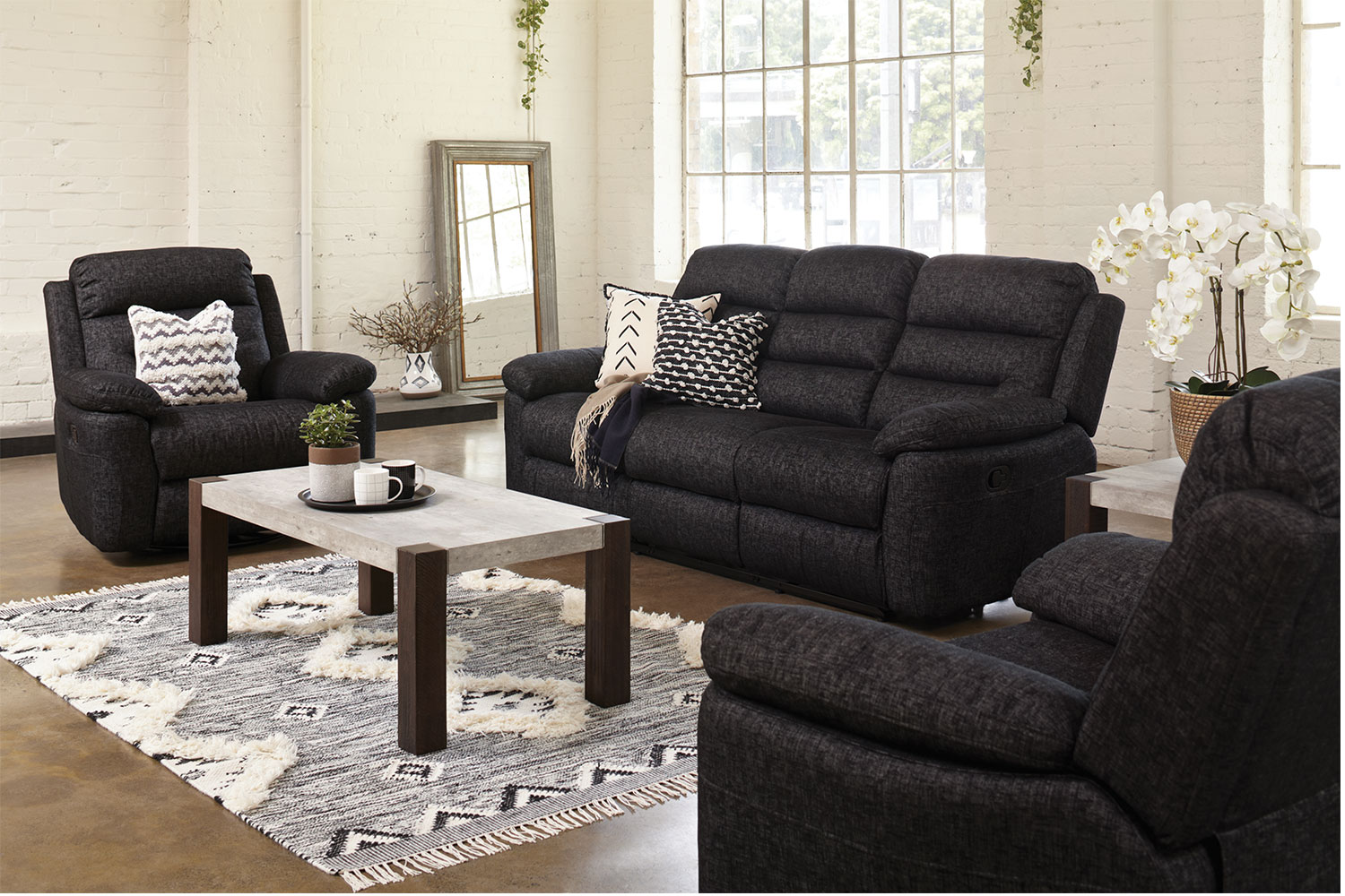 Lounge Suites Maverick 3 Piece Fabric Recliner Lounge Suite