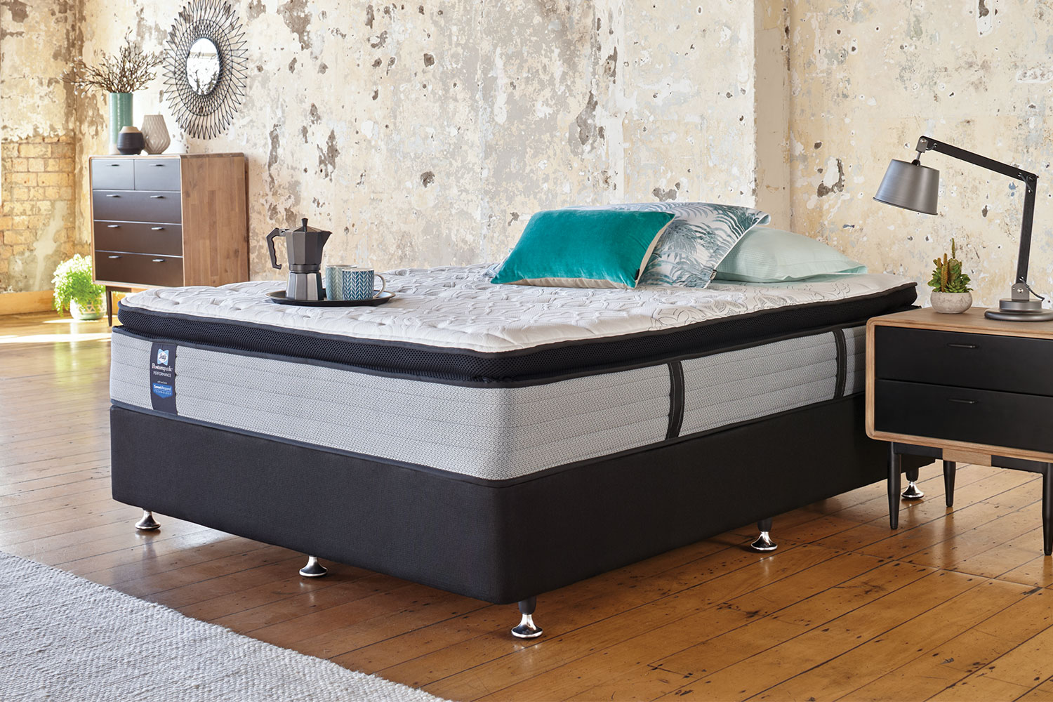 King Single Bed With Drawers Mason Medium King Single Bed By Sealy Posturepedic