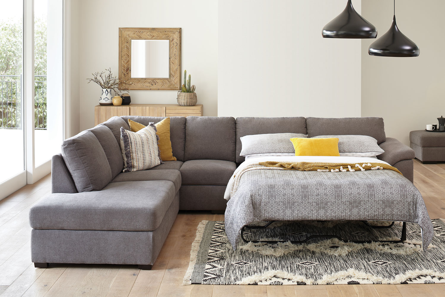 Nebula 5 Seater Fabric Corner Lounge Suite With Sofa Bed Harvey Norman New Zealand