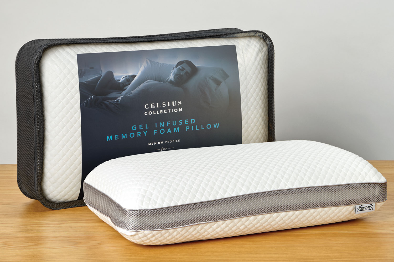 Gel Infused Memory Foam Pillow Celsius Mid Profile Gel Infused Memory Foam Pillow By Beautyrest