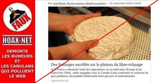 Non, la France ne sacrifiera pas ses fromages au profit du Canada