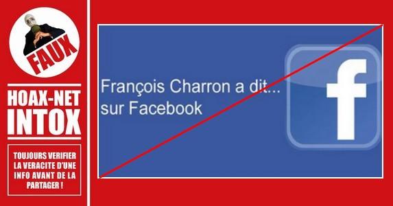 Méfiez-vous des messages affirmant que François Charron a dit