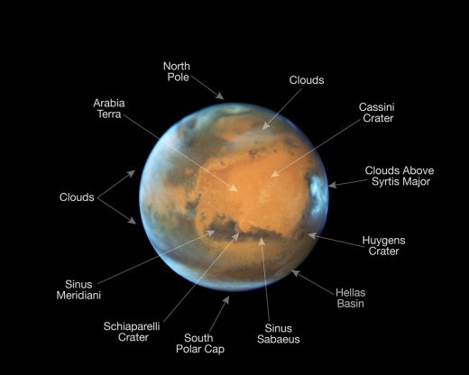 This image shows our neighbouring planet Mars, as it was observed shortly before opposition in 2016 by the NASA/ESA Hubble Space Telescope. Some prominent features on the surface of the planet have been annotated.