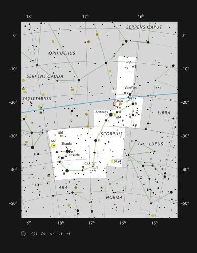 This chart shows the location of the exotic binary star AR Scorpii in the bright constellation of Scorpius (The Scorpion). The stars visible with the naked eye on a dark clear night are shown and the location of AR Scorpii marked with a red circle.