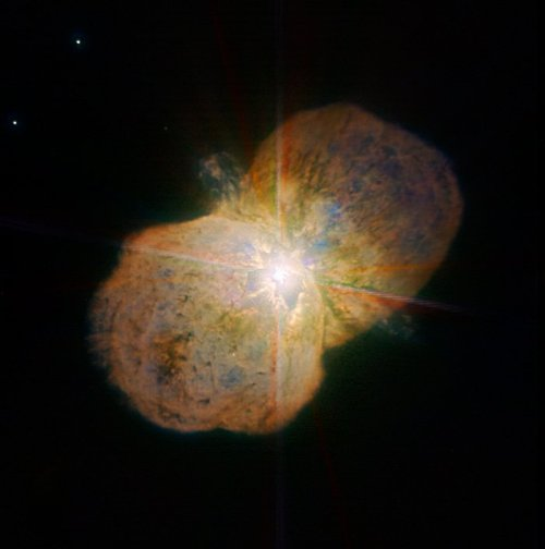 This new image of the luminous blue variable Eta Carinae was taken with the NACO near-infrared adaptive optics instrument on ESO's Very Large Telescope, yielding an incredible amount of detail. The images clearly shows a bipolar structure as well as the jets coming out from the central star. The image was obtained by the Paranal Science team and processed by Yuri Beletsky (ESO) and Hännes Heyer (ESO). It is based on data obtained through broad (J, H, and K; 90 second exposure time per filters) and narrow-bands (1.64, 2.12, and 2.17 microns; probing iron, molecular and atomic hydrogen, respectively; 4 min per filter).