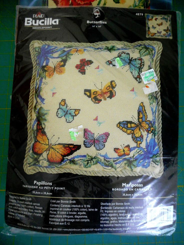 "Masking Tape Shop Bucilla Needlepoint Kit - Butterflies - 14""x14"" - 4879"