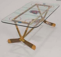Hockey Stick Coffee Table with Rink Printed on Glass Top ...