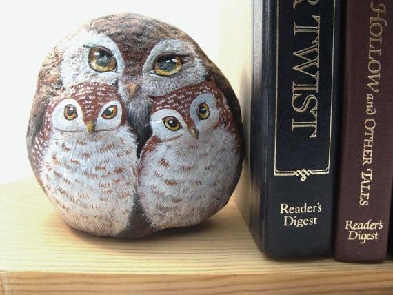 Owl Family Rock Bookend - Etsy
