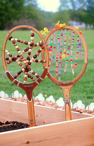 tennis racket garden bead art