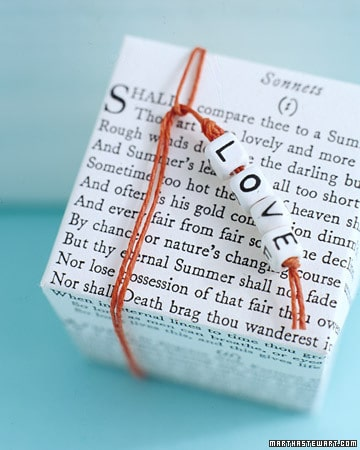 Shakespeare sonnet favour box