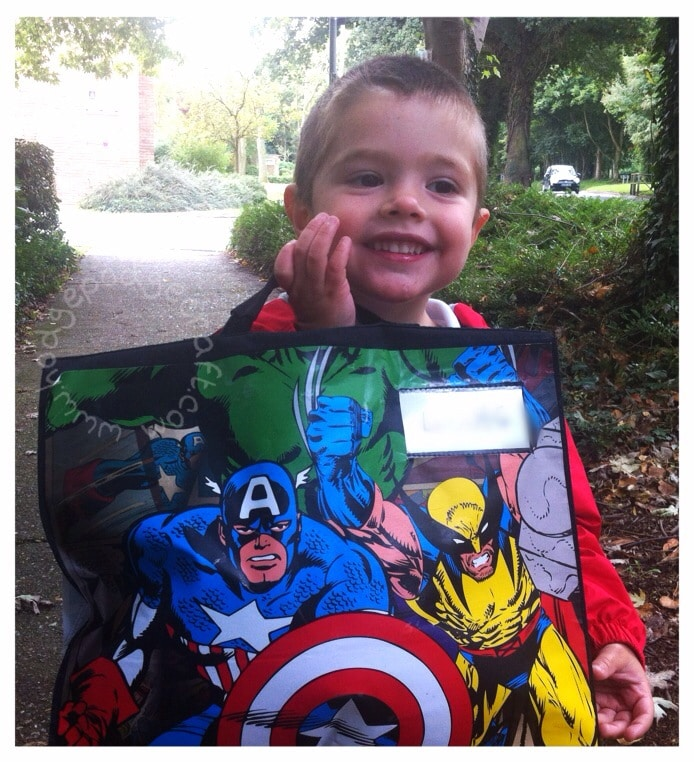 DIY comic book school bag