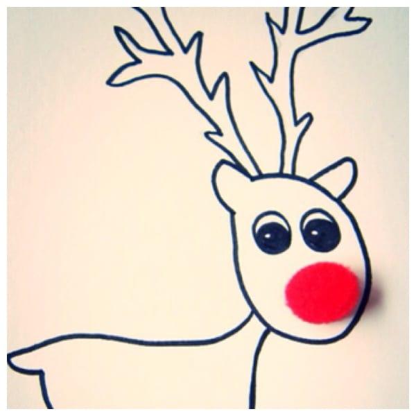 Pompom reindeer Christmas cards (free printable)