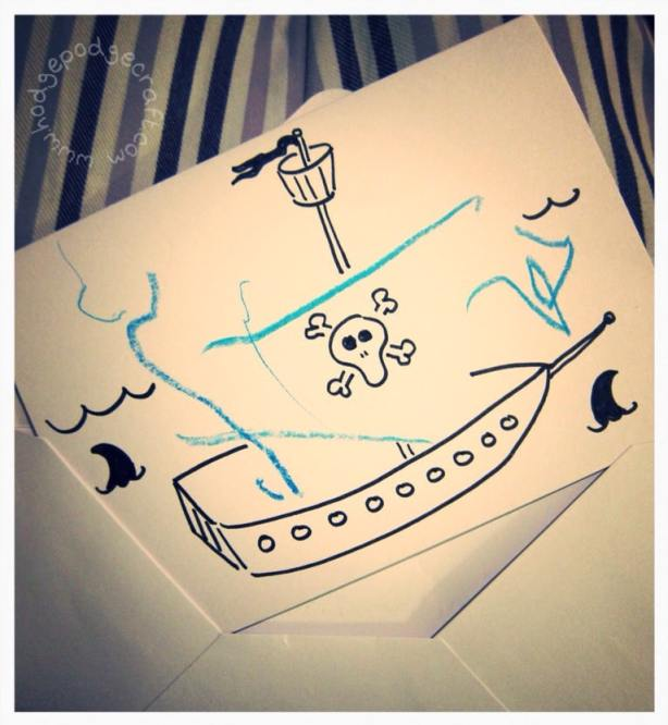 Pirate party toddler thank you note